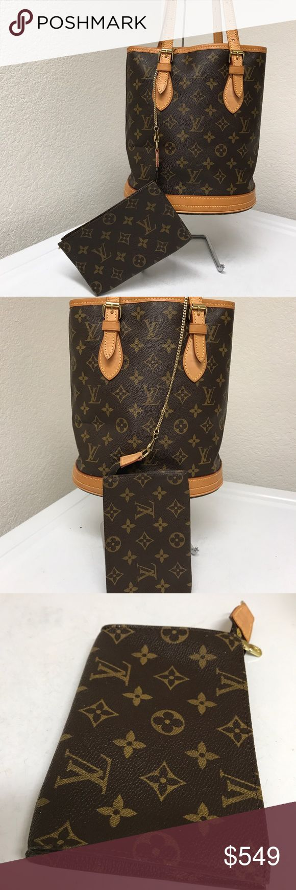 Louis Vuitton bucket bag w:Wallet Beautiful vintage authentic bag and wallet w/gentle used,no hole nor tear noted,bottom of bag has patina and inside has minor scuffs/sticky feel but overall Bag and Wallet is excellent ! Louis Vuitton Bags Totes
