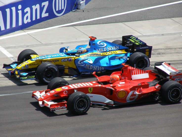 Fernando Alonso in the Renault vs Michael Schumacher in the Ferrari 2006. The Red Baron's last Championship battle!