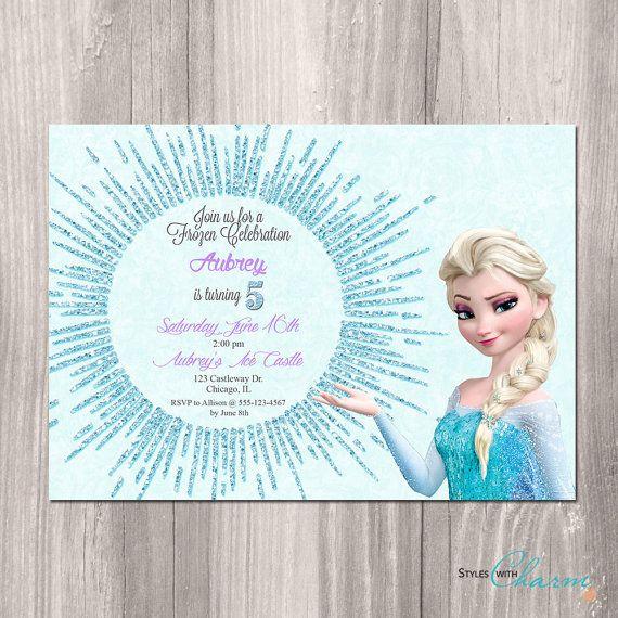 Frozen Birthday Invitation, Frozen Printable Invitation, glitter snowflake, Frozen Party, Disney Frozen Invitation, Printable Frozen Invite