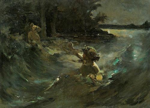 """Świtezianka"", first version of the scene painted around 1898 by Kazimierz Alchimowicz (1840-1916). The second (final) version of the painting was lost during World War.According to the legends, which inspired one of Adam Mickiewicz's poems, Świtezianka was a water nymph from the lake of Świteź.Image via Muzeum Romantyzmu."