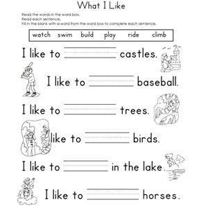 Fill-in-the-Blank Worksheets: What I Like Fill-in-the-Blank Reading Worksheet (via Parents.com)