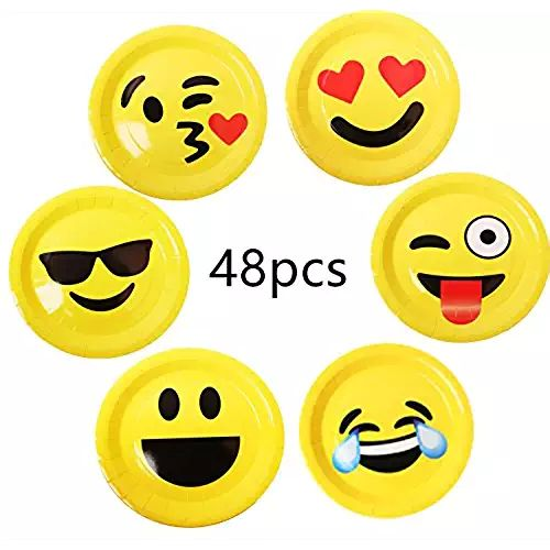 "48 Pack Emoji Party Paper Plates 9"" Utensils Top Popular for Birthdays Crafts Prizes and Games Theme Tableware Set Prime foci cozi"
