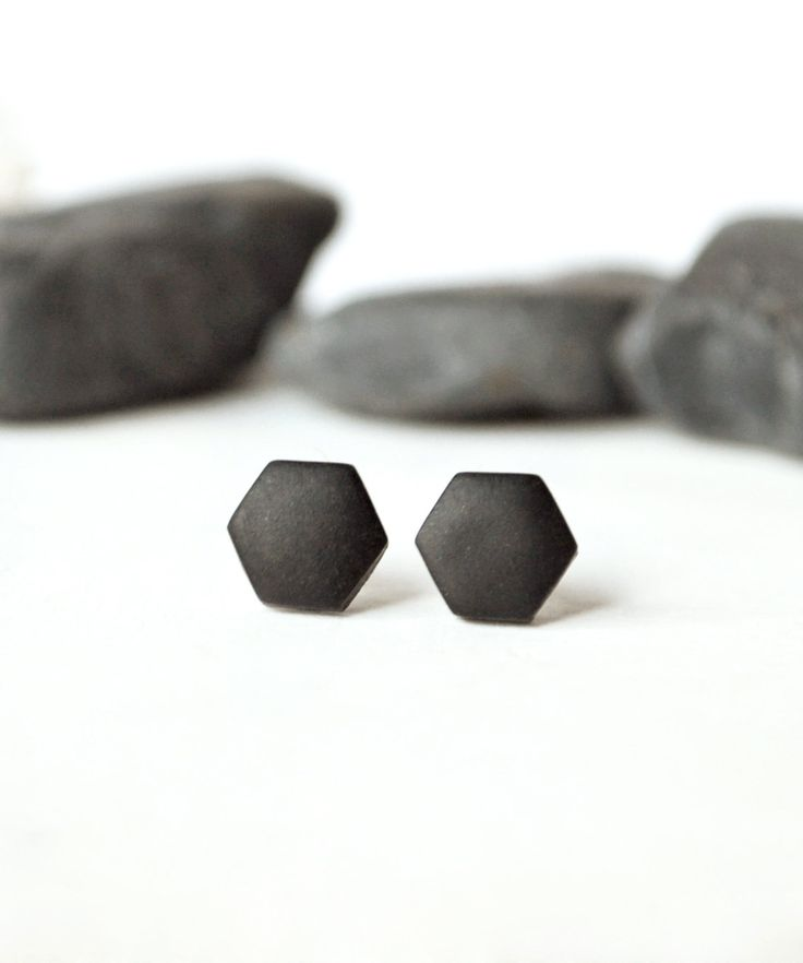 Black studs, matte black earrings, earrings for men, unisex, matte black studs…