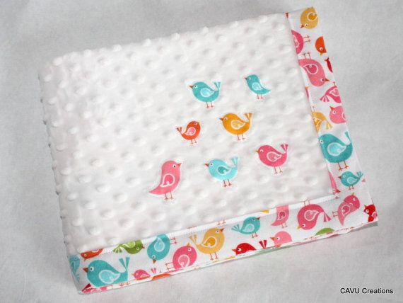 Colorful Birds & White Minky Baby Blanket with Little Bird Appliques on Etsy by CAVUcreations