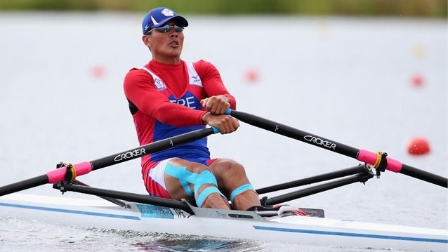 Ming-Hui Wang of Chinese Taipei competes in the men's Single Sculls repechage on Day 2 at Eton Dorney on July 29.