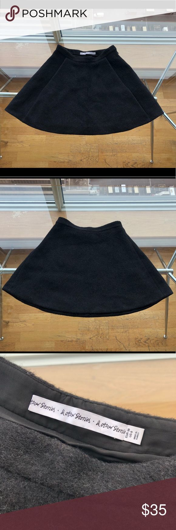 &other stories skirt Warm and stylish &other story black skirt with two hidden pockets in front 🌸 Been worn just 2-3 times. Fabric: 63% Wool, 29% Polyamide, 4% Mohair, 4% Polyester & Other Stories Skirts Mini