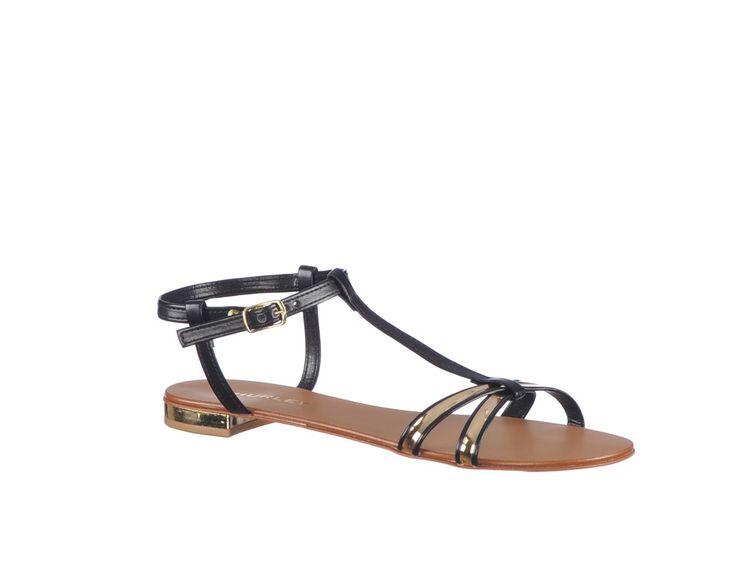 Sandale fara toc, din piele ecologica de culoare neagra si aurie - Smart Choice Marca Thurley.