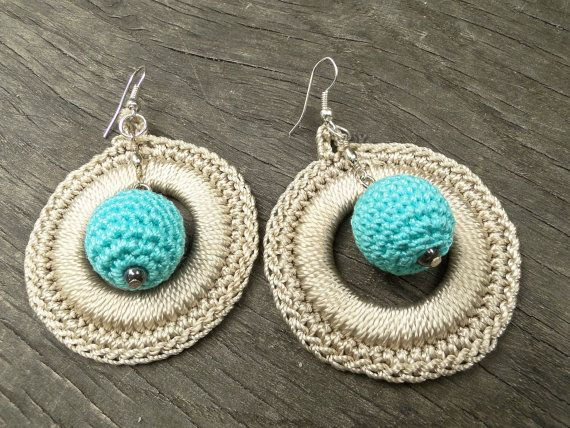Handmade Crochet Earrings Crochet Disc Hoop by SandyCraftUK