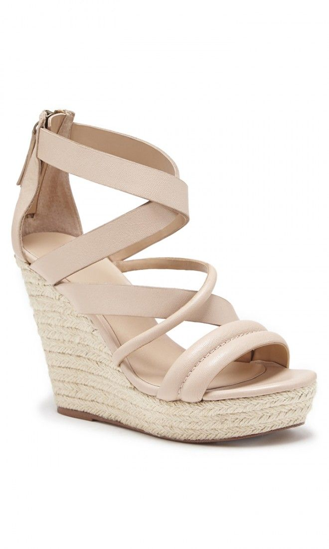Strappy, neutral leather platform espadrilles by Joe's Jeans//