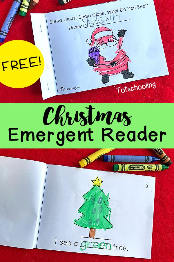 """FREE Christmas emergent reader book """"Santa Claus, Santa Claus, What Do You See?"""" for kindergarten and preschool to practice easy sight word reading, tracing words and coloring."""