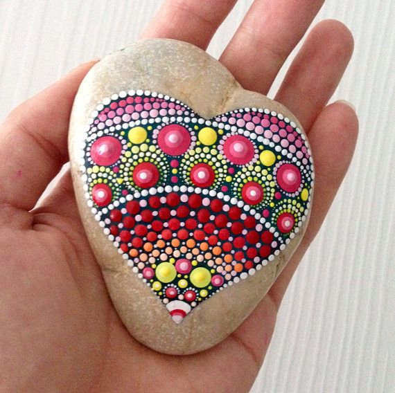 Heart Dot Art Mandala Painted Stone Fairy Garden Gift