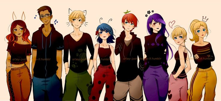Everyone in street clothes (Miraculous Ladybug, Alya, Nino, Adrien, Marinette, Nathanael, Juleka, Rose, Chloe)