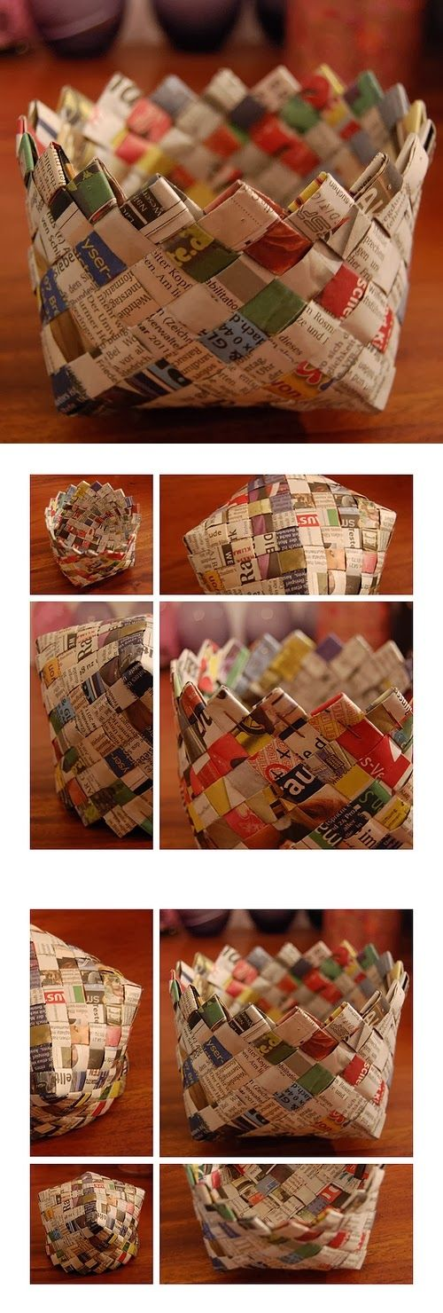 DIY How To Make Baskets From Old Newspapers