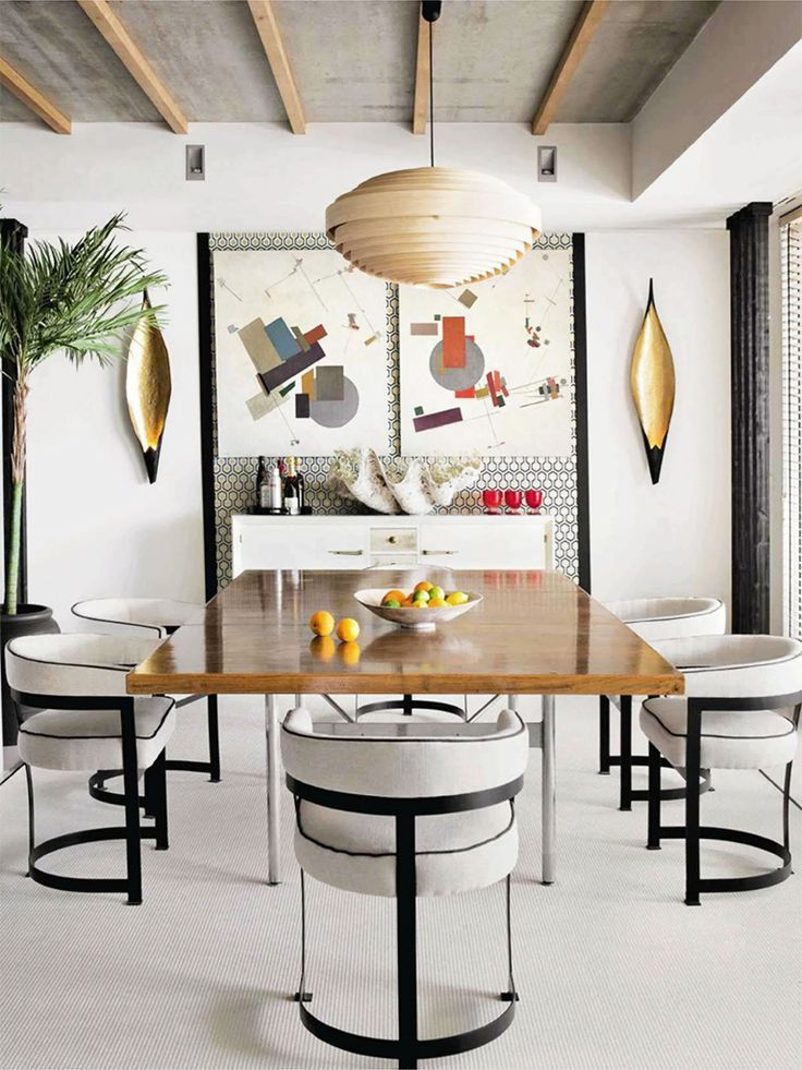 Gorgeous, eclectic contemporary dining room - shades of Bauhaus, shades of rustic, shades of the natural world.