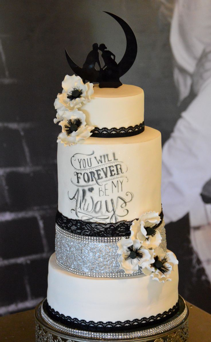 Black and white wedding cake with silver sequins and poppies with you will forever be my always