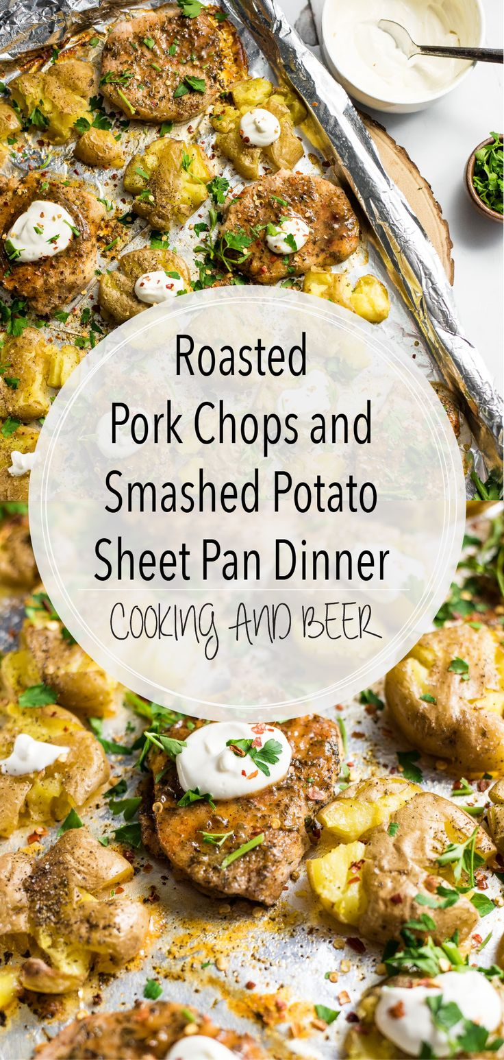 Roasted Pork Chops and Smashed Potato Sheet Pan Dinner is a super flavorful and simple way to spruce up a weeknight dinner recipe!