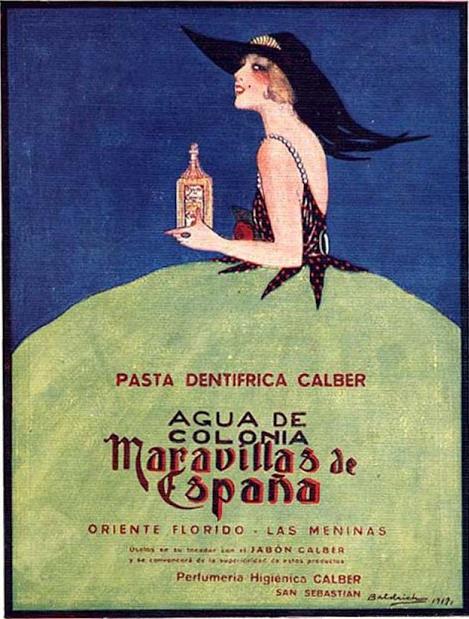 Advertisement of Perfumery Calber of San Sebastian, and Roberto Martinez Anido Baldrich. (Art Deco, Spain)