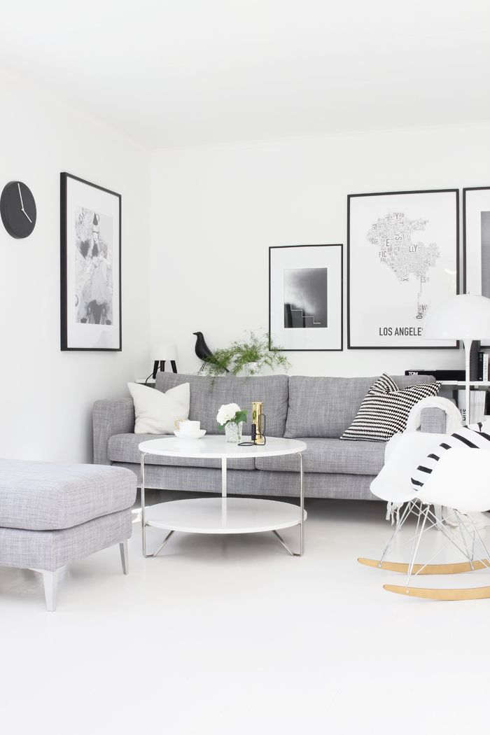Stylizimo living room, Scandinavian style, black and white