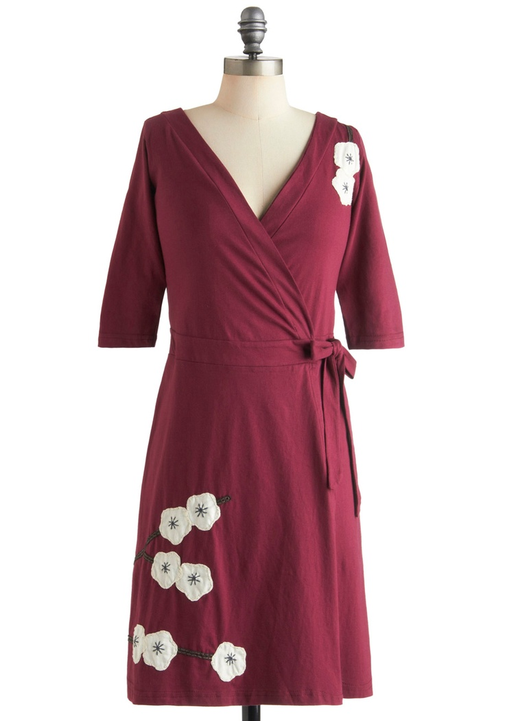 Magnolia Blossom Dress in Wrap - Cotton, Mid-length, Red, White, Floral, Embroidery, Casual, Wrap, 3/4 Sleeve    Pretty...