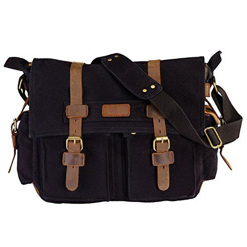 New Trending Briefcases amp; Laptop Bags: LUXUR Casual Vintage Canvas Messenger Bag Military Satchel Shoulder Bag for 15 Inch Laptop for Men and Women Black Large. LUXUR Casual Vintage Canvas Messenger Bag Military Satchel Shoulder Bag for 15 Inch Laptop for Men and Women Black Large  Special Offer: $32.99  344 Reviews LUXUR Canvas Messenger Bag Specification: * Material: cotton canvas, crazy horse leather, bronze metal * Overall Dimensions:...