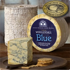 Wensleydale Blue cheese. Handcrafted in the heart of the Yorkshire Dales, Wensleydale Blue is a delicately flavoured creamy blue cheese that has a mellow, yet full flavour, which will appeal to newcomers to blue cheese  connoisseurs alike. Supreme Champion winner at the British Cheese Awards 2012.