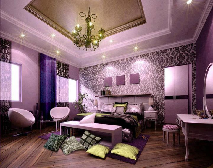 LOVE The Purple Color And Damask Print On Accent Wall Could Possibly Do This Decorating