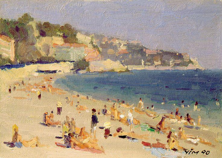 Nice Beach (Nice, France), Oil on Canvas, 4.7x6.7 inches, 1990
