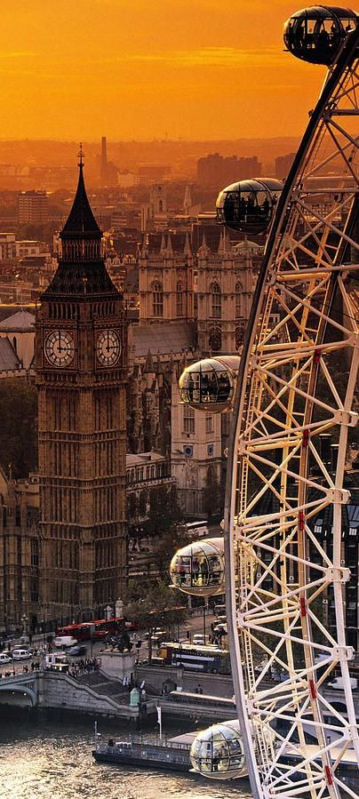 The London Eye and Big Ben, London, UK...