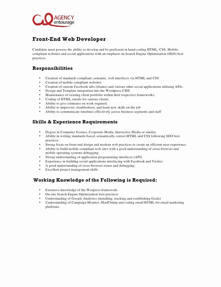 Front End Web Developer Resume Luxury Entry Level Front End Web Developer Job Description Web Developer Cover Letter Web Developer Resume Letter Example