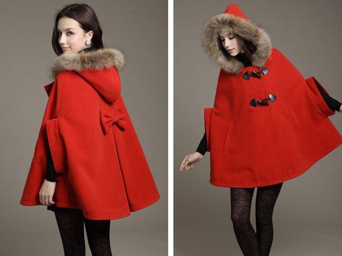 Manteau cape femme rouge pas cher