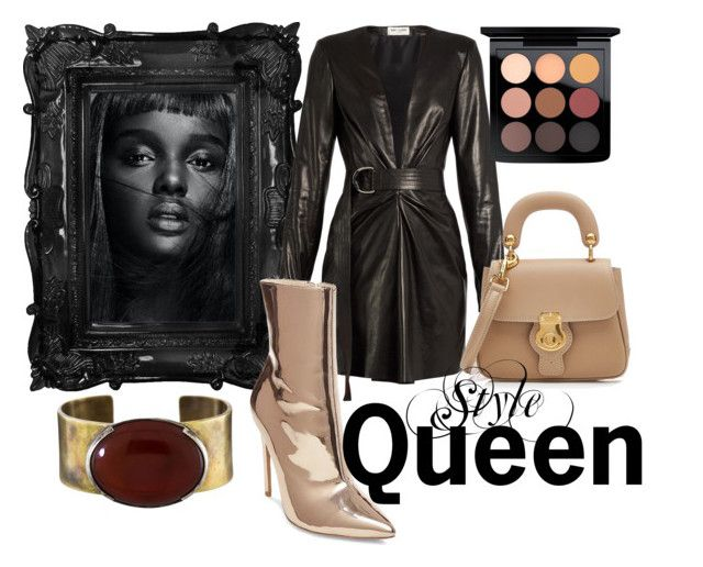 Style Queen by illetilmote on Polyvore featuring Yves Saint Laurent, Steve Madden, Burberry, Orduna Design, MAC Cosmetics and Thot