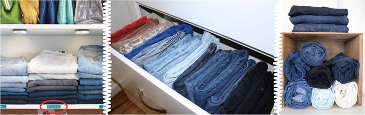 calças separadas por cor, jeans por ser pesado nas prateleiras e outra modelagem como skinny enroladas nas gavetas ou nichos.