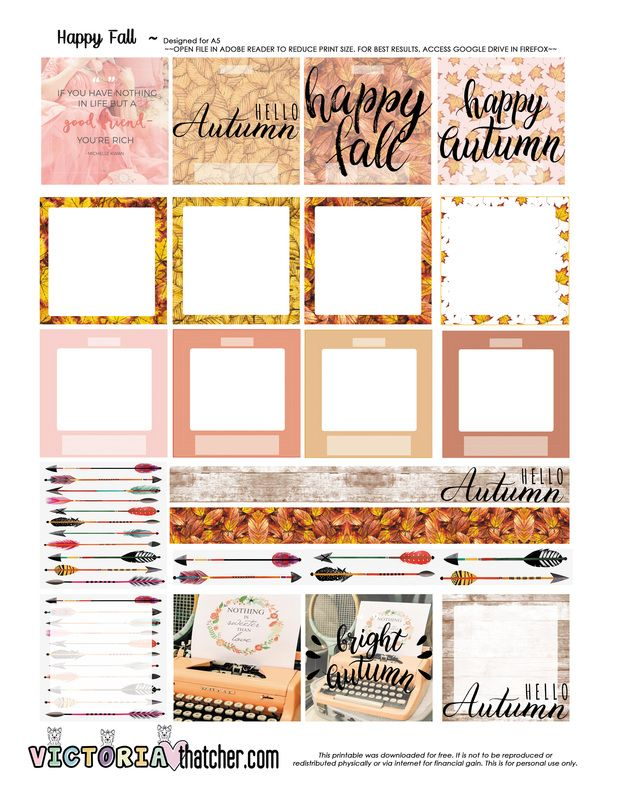FREE Happy Fall Planner Printable BY Victoria Thatcher