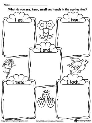**FREE** The Five Senses in the Sprint Time Worksheet. Use the five senses in the spring time printable worksheet to encourage your child to explore the 5 senses by describing what they hear, see, touch, taste and smell during the spring time.