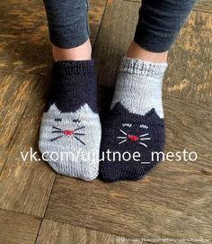 "Следки спицами ""YinYang Kitty Ankle Socks"" by Geena Garcia"