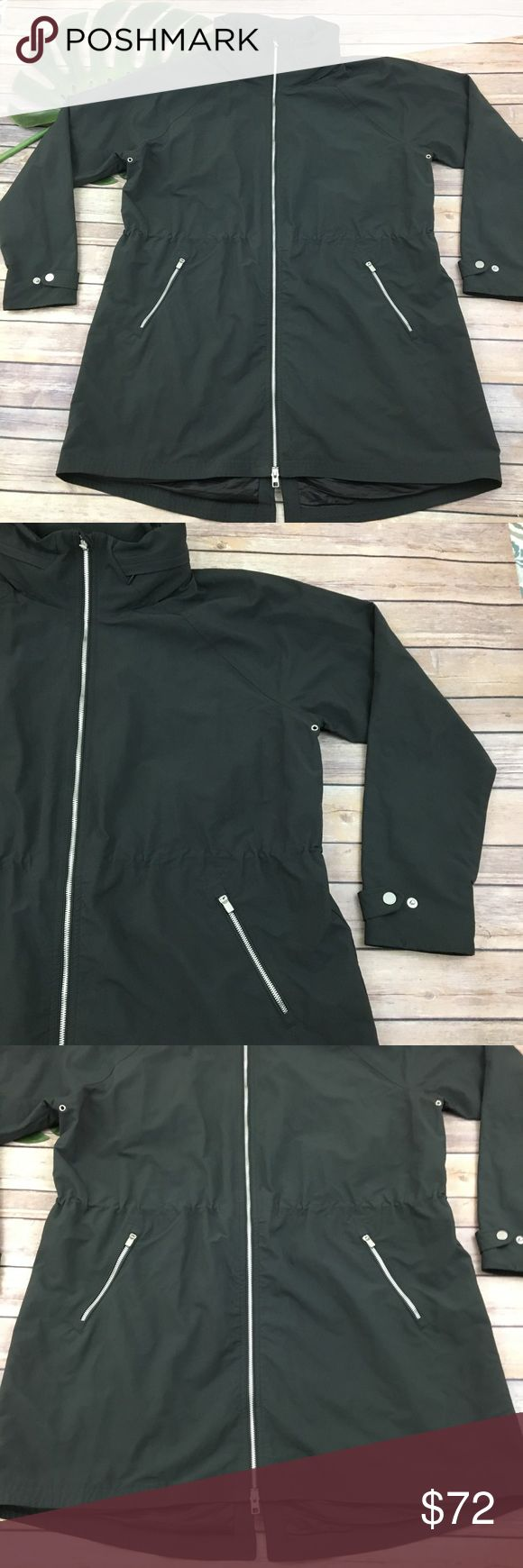 Athleta Misty flint gray rain resistant jacket Athleta Misty water resistant jacket, size XL. It is free from any rips or stains. It measures about 50 inches around the bust and is about 35 inches long. Athleta Jackets & Coats