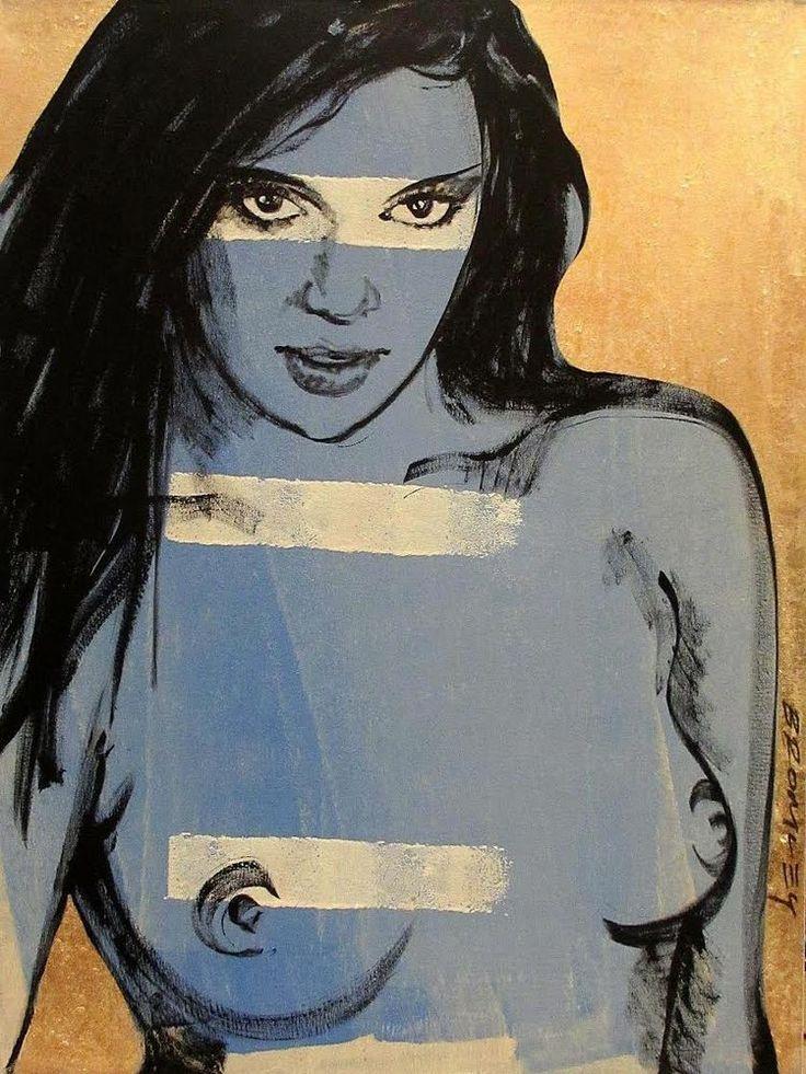 "DAVID BROMLEY Nude ""Shannon"" Polymer & Gold Leaf on Canvas 120cm x 90cm"