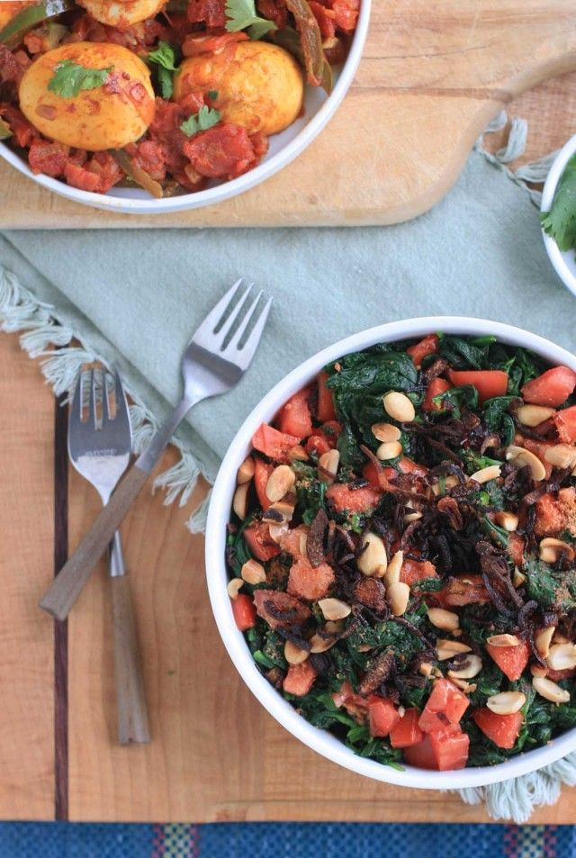 Burmese Wilted Spinach Salad with Tomatoes and Crispy Golden Shallots