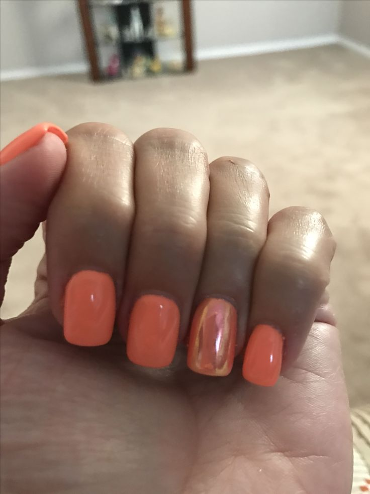 summer nails orange chrome