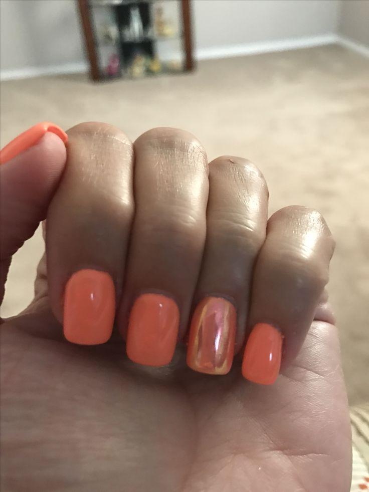 Summer Nails Orange Nails Chrome Nails Soft Orange Dnd Gel Polish Easy Nail Designs Summer