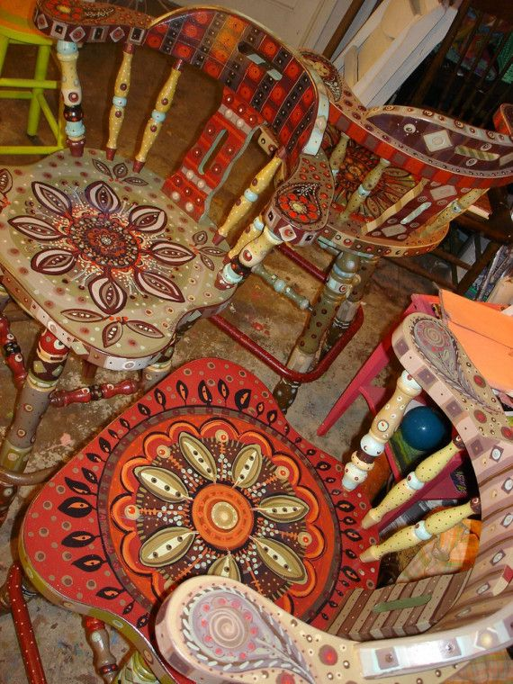 Orange, Yellow, & Brown floral Boho eclectic hand painted bohemian wooden furniture wood chairs from etsy