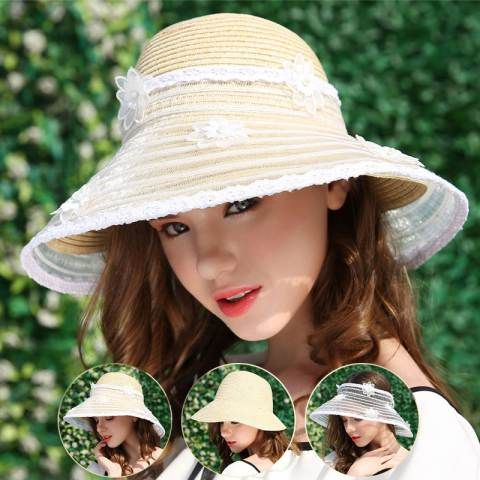 Fashion lace straw sun hat womens flower sun visor hats for protection