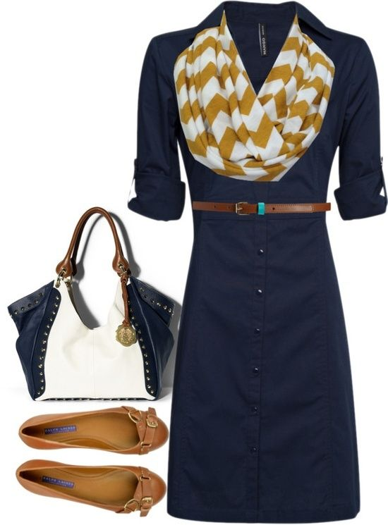navy button dress, brown belt, mustard/white chevron infinity skirt, camel flats, white/navy tote