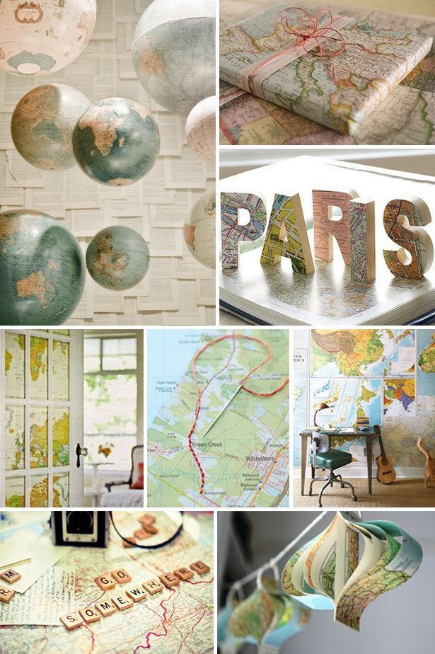 Love the map wrapping paper - great use for out-of-date atlases...
