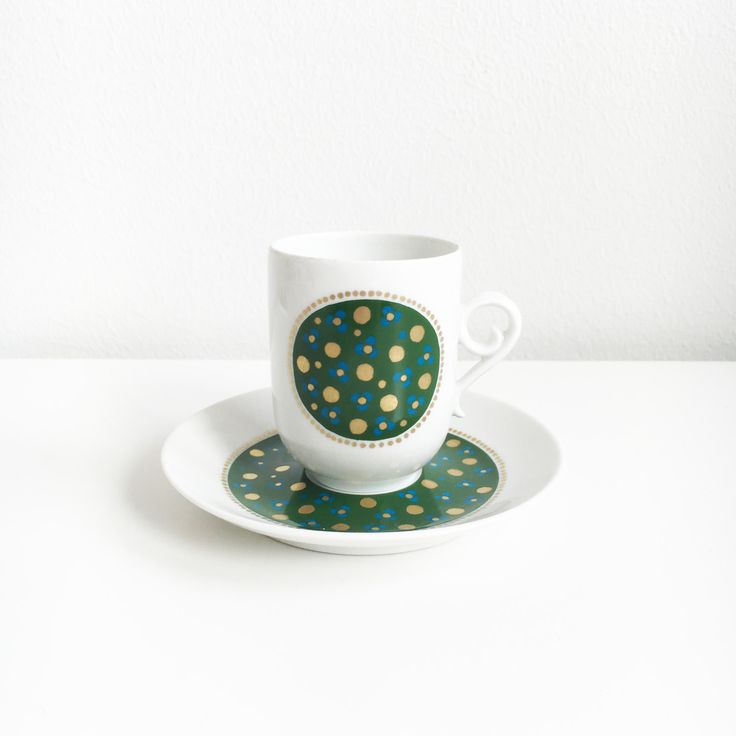 """Highly collectible vintage Arabia Finland Green and golden color mocha coffee cup set named """"Pimpinella""""- Made in Finland by FinnishVintageOasis on Etsy"""