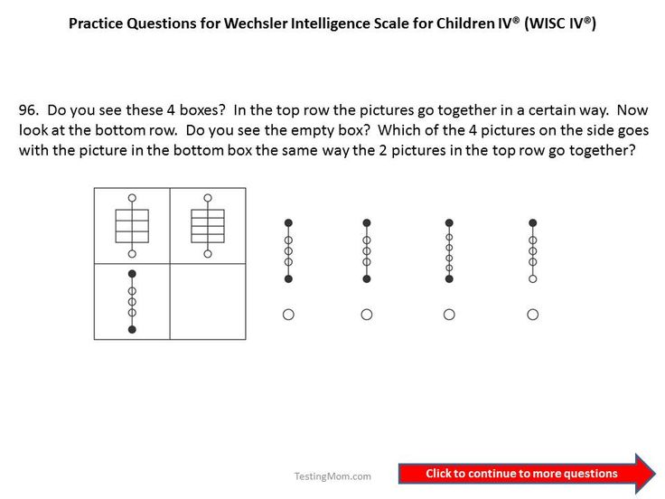 Practice questions for the WISC IV 5th and 6th grade