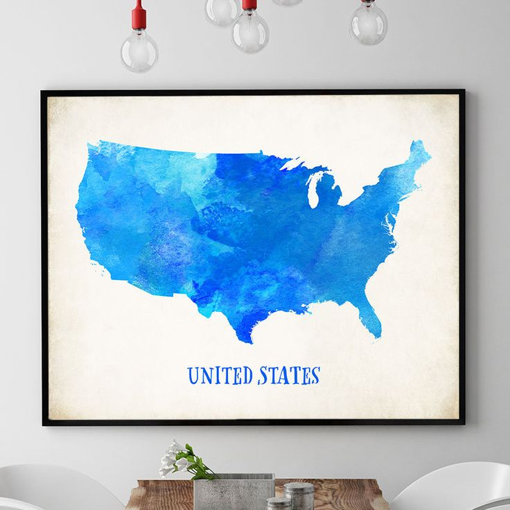 Blue US Map Poster, USA Map Watercolour Print, United States Map Painting, Map Of USA Wall Art, Home Decor, Nursery, Kids Room Decor (735) by PointDot on Etsy