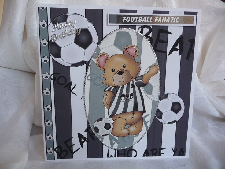 "www.paulascardcreations.com 8"" x8"" Football Crazy Birthday Card.  Comes with white envelope in a cellophane bag. £3 +P"