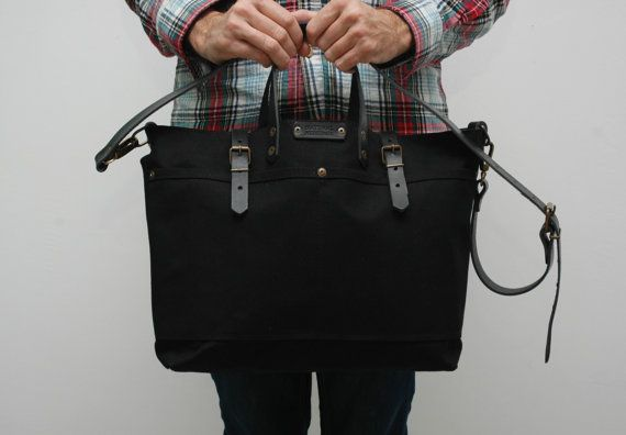 waxed canvas bag with leather handles and by NATURALHERITAGEBAGS
