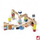 Janod Kubix knikkerbaan, zelf te bouwen van losse blokken!